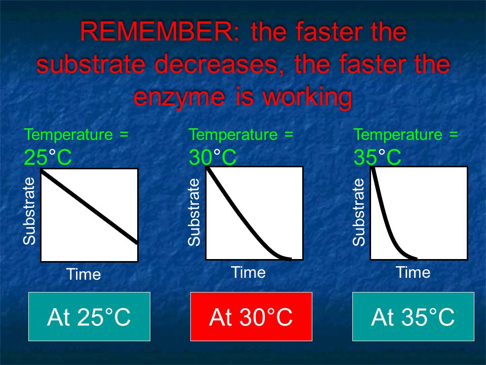 REMEMBER: the faster the substrate decreases, the faster the enzyme is working
