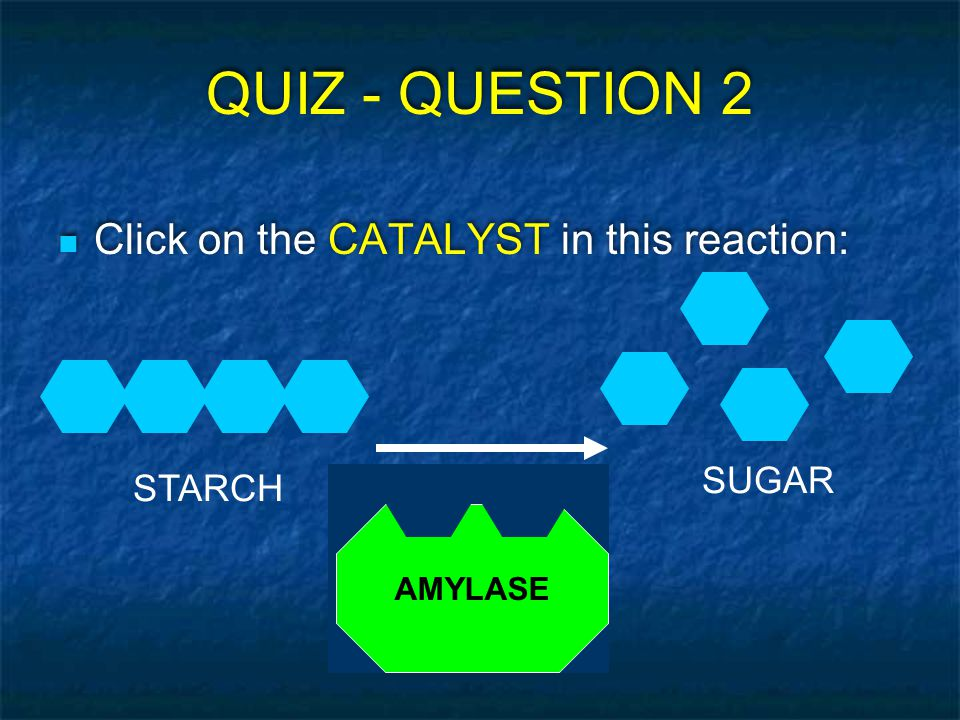 QUIZ - QUESTION 2 Click on the CATALYST in this reaction: SUGAR STARCH