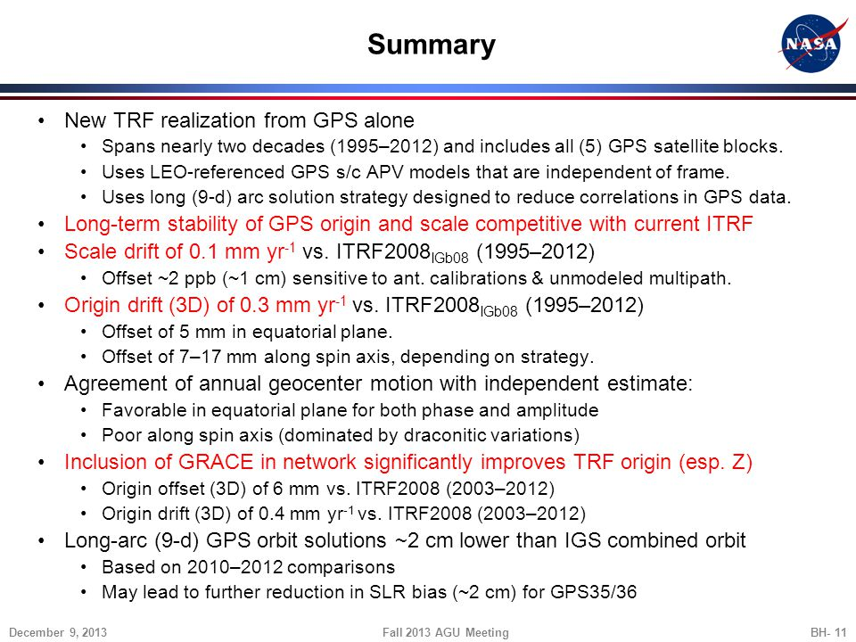 Summary New TRF realization from GPS alone