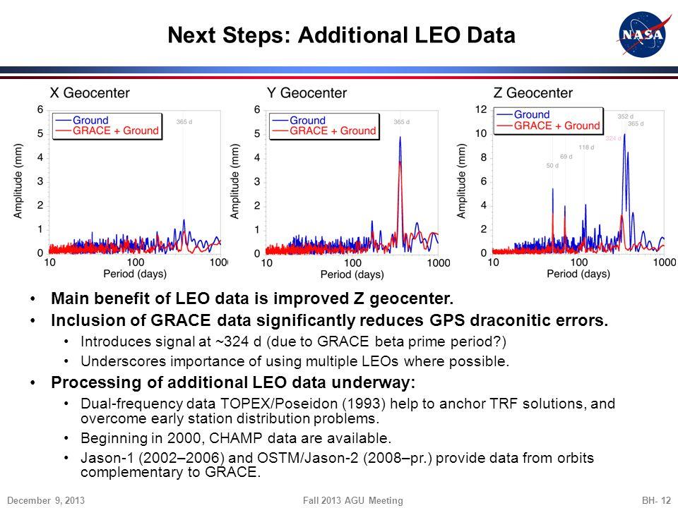 Next Steps: Additional LEO Data