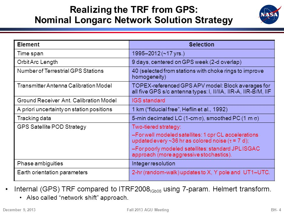 Realizing the TRF from GPS: Nominal Longarc Network Solution Strategy