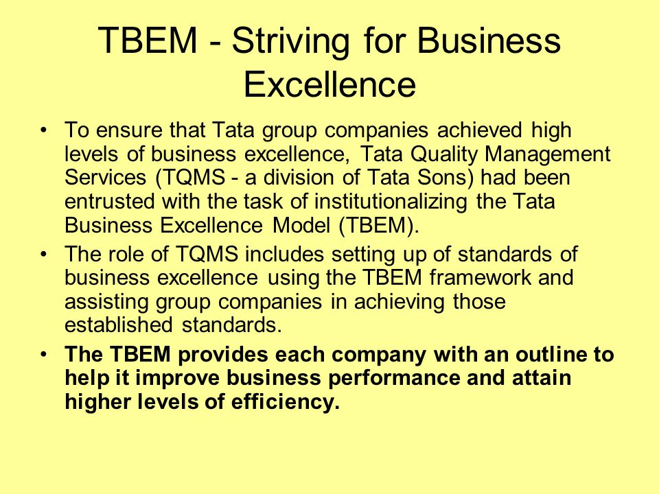 TBEM - Striving for Business Excellence