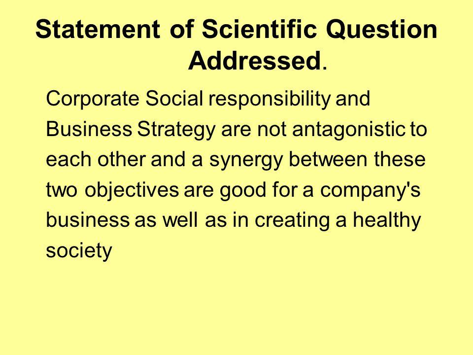 Statement of Scientific Question Addressed.