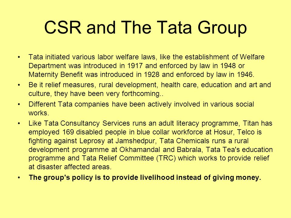 CSR and The Tata Group