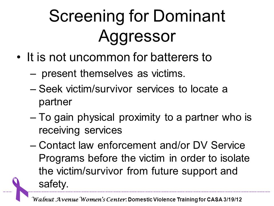 Screening for Dominant Aggressor