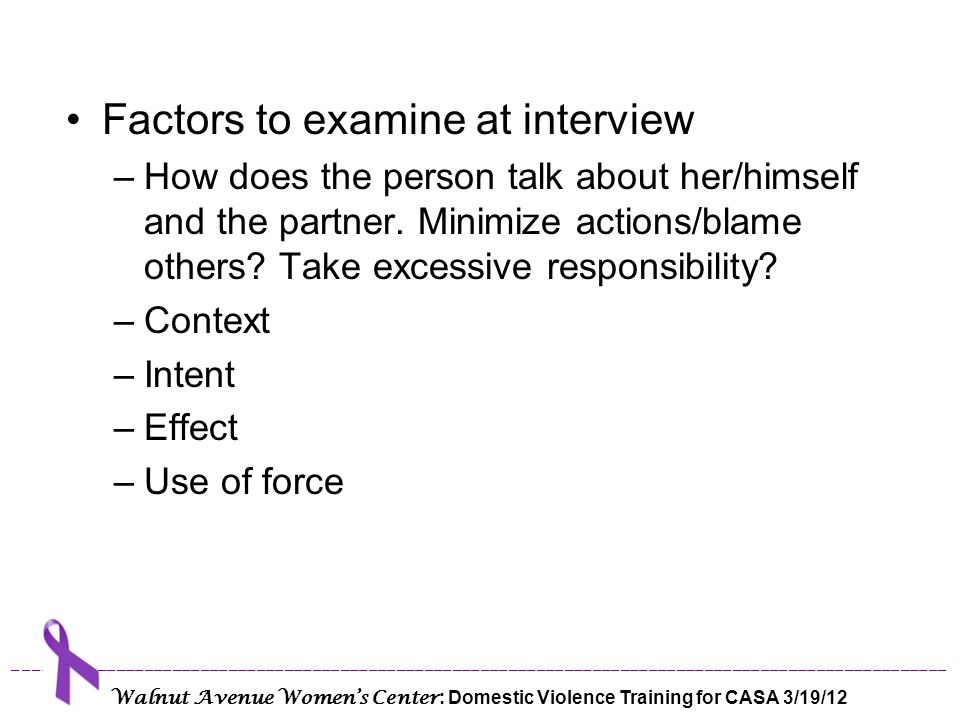 Factors to examine at interview