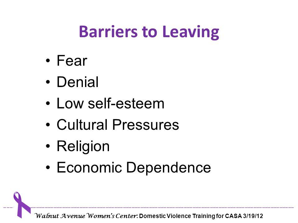 Barriers to Leaving Fear Denial Low self-esteem Cultural Pressures