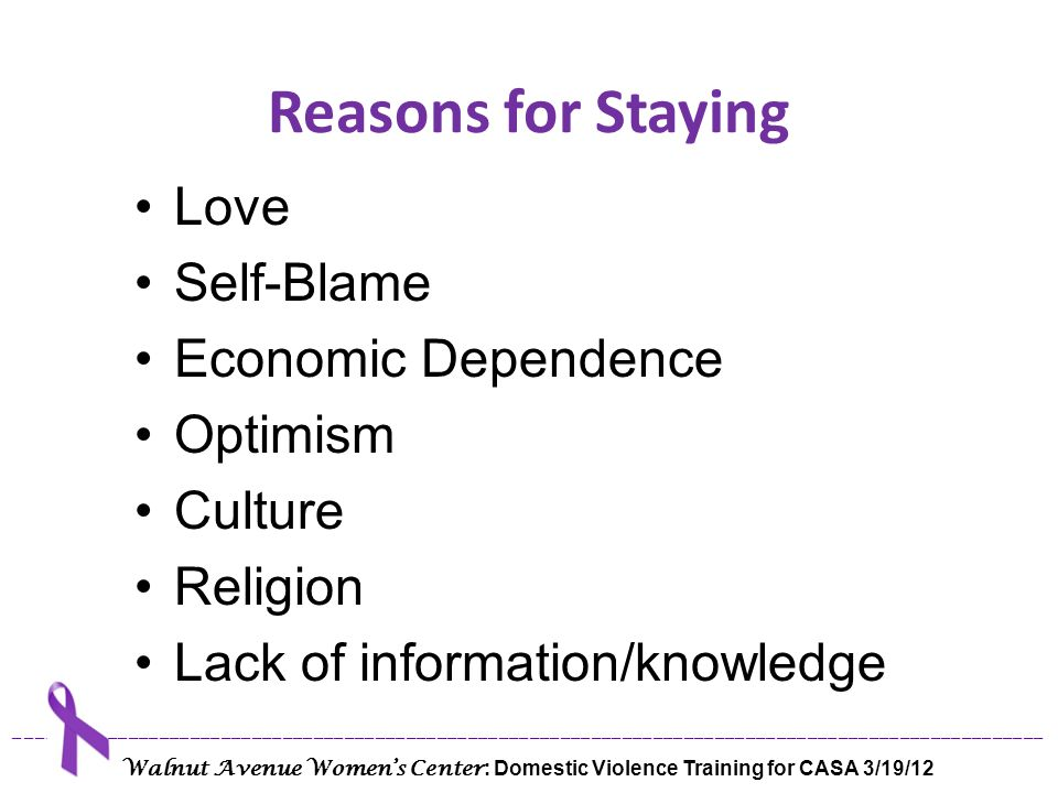 Reasons for Staying Love Self-Blame Economic Dependence Optimism