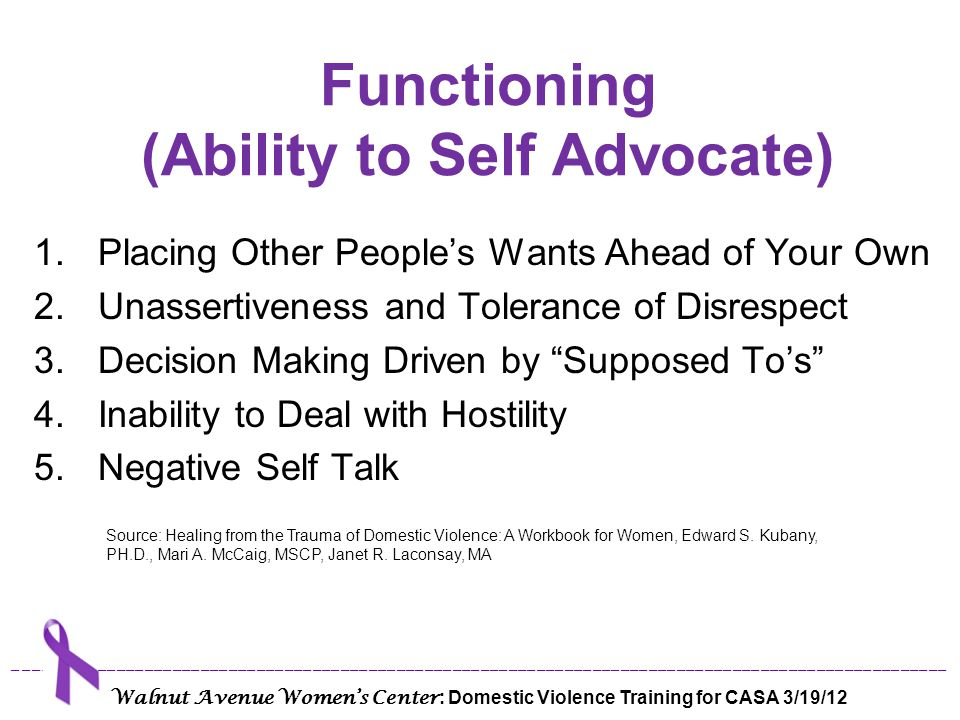 Functioning (Ability to Self Advocate)