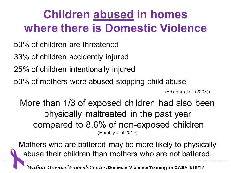 Children abused in homes where there is Domestic Violence