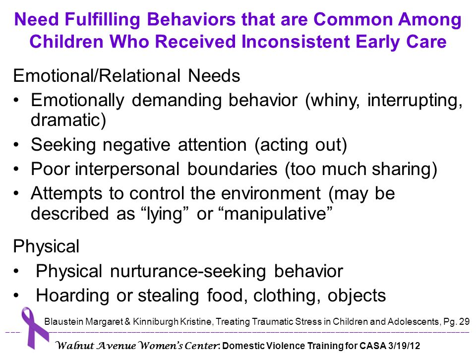 Emotional/Relational Needs
