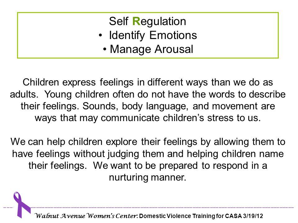Self Regulation Identify Emotions Manage Arousal