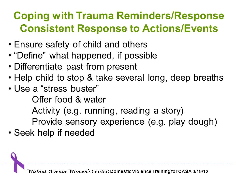 Coping with Trauma Reminders/Response