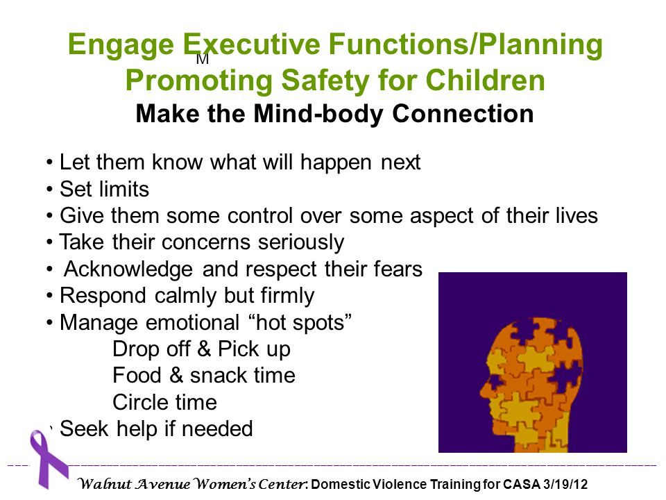 Engage Executive Functions/Planning Promoting Safety for Children