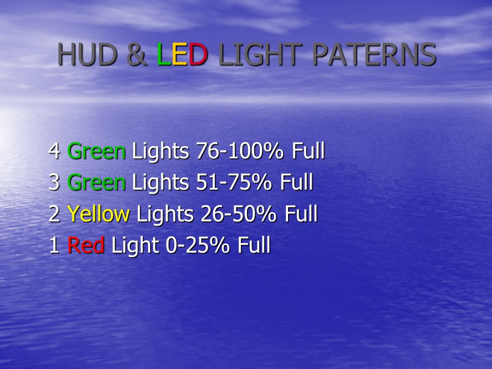 HUD & LED LIGHT PATERNS 4 Green Lights 76-100% Full