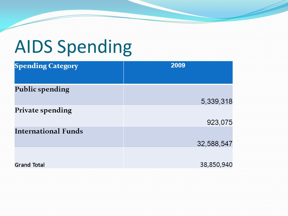 AIDS Spending Spending Category 5,339,318 Public spending 923,075