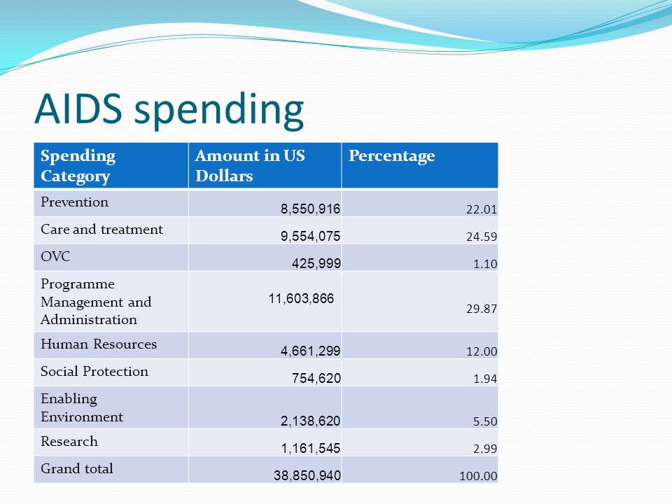 AIDS spending Spending Category Amount in US Dollars Percentage
