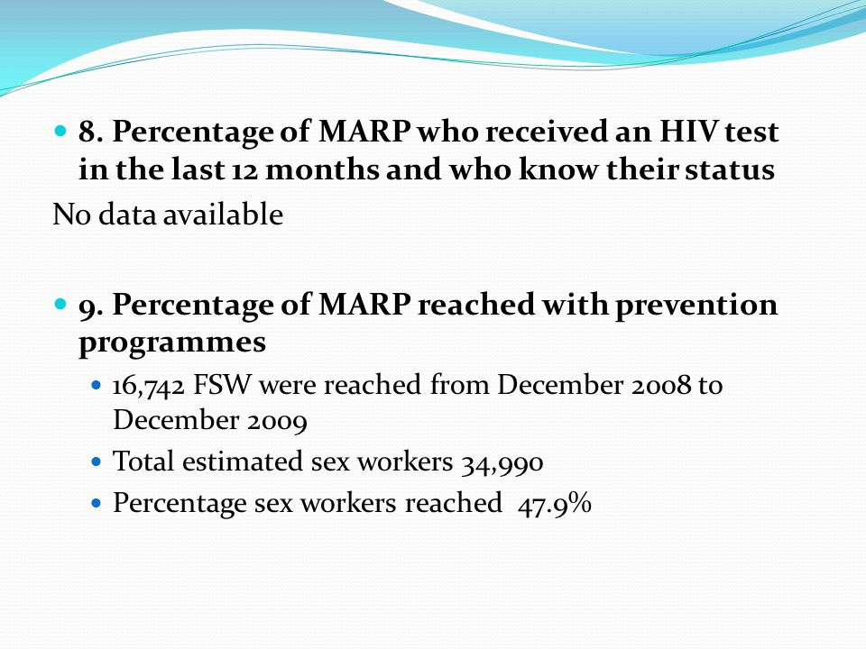 9. Percentage of MARP reached with prevention programmes