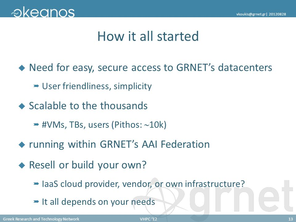 How it all started Need for easy, secure access to GRNET's datacenters