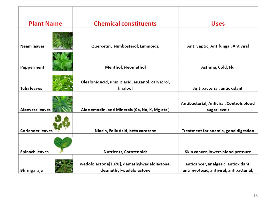 Plant Name Chemical constituents Uses