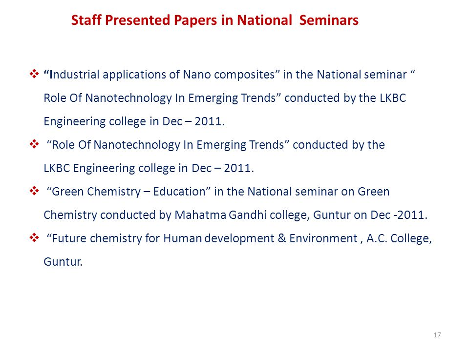 Staff Presented Papers in National Seminars