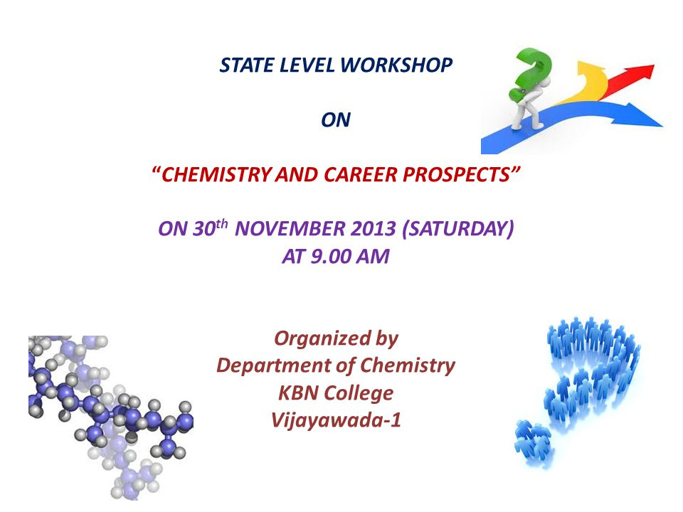 STATE LEVEL WORKSHOP ON CHEMISTRY AND CAREER PROSPECTS ON 30th NOVEMBER 2013 (SATURDAY) AT 9.00 AM Organized by Department of Chemistry KBN College Vijayawada-1