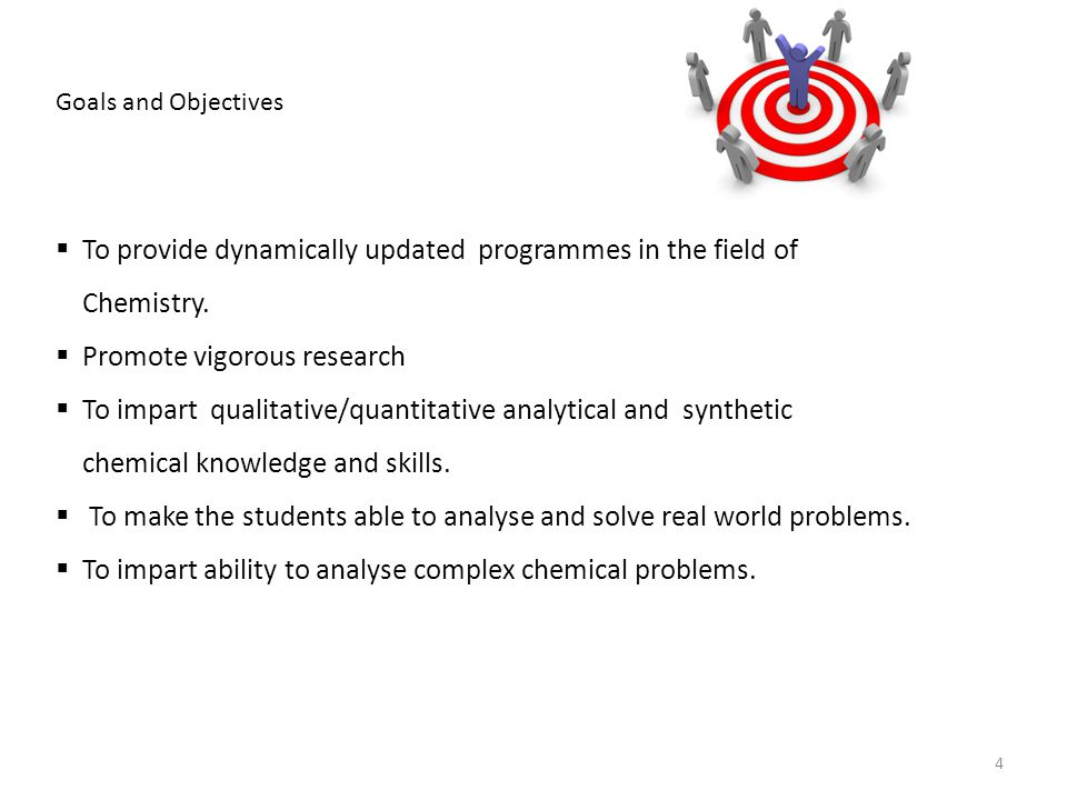 To provide dynamically updated programmes in the field of Chemistry.