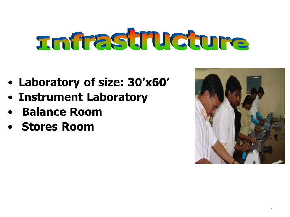 Laboratory of size: 30'x60' Instrument Laboratory Balance Room