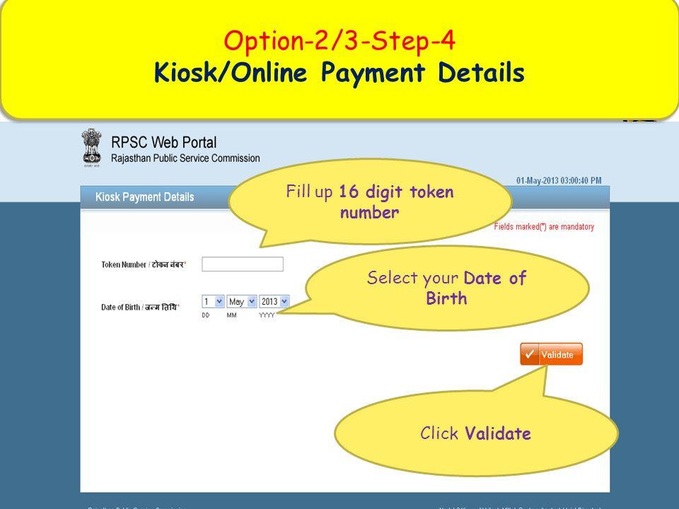 Kiosk/Online Payment Details