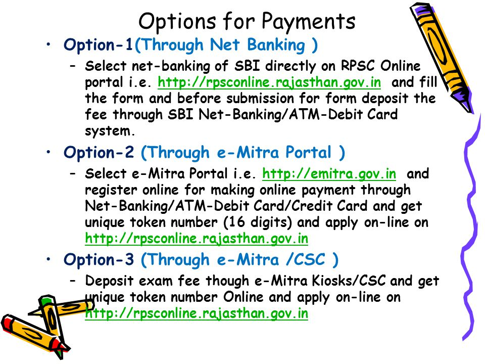 Options for Payments Option-1(Through Net Banking )