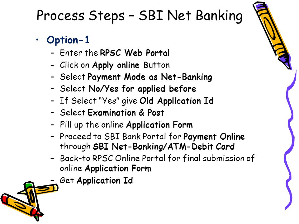 Process Steps – SBI Net Banking