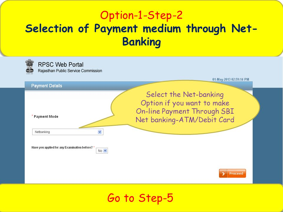Selection of Payment medium through Net-Banking
