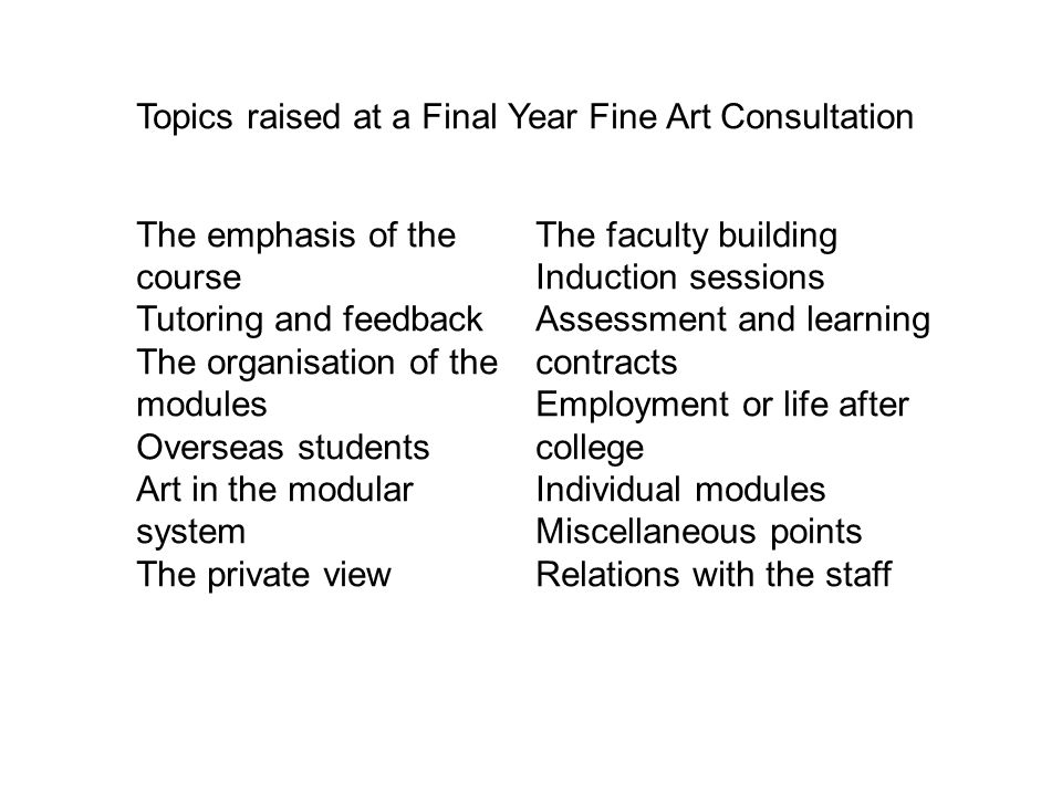 Topics raised at a Final Year Fine Art Consultation
