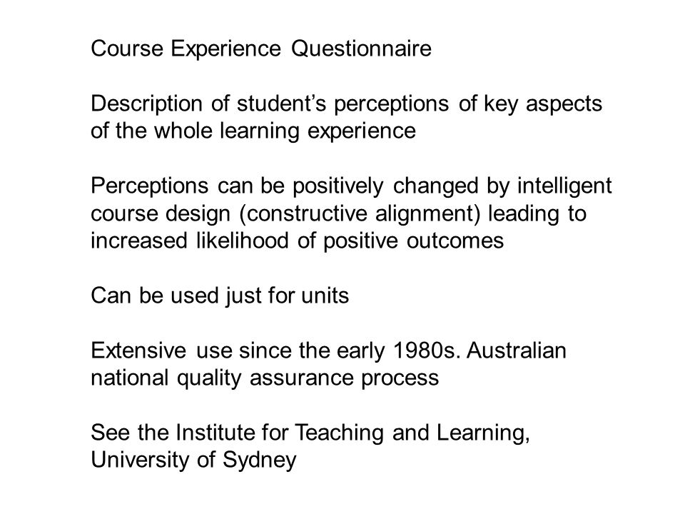 Course Experience Questionnaire