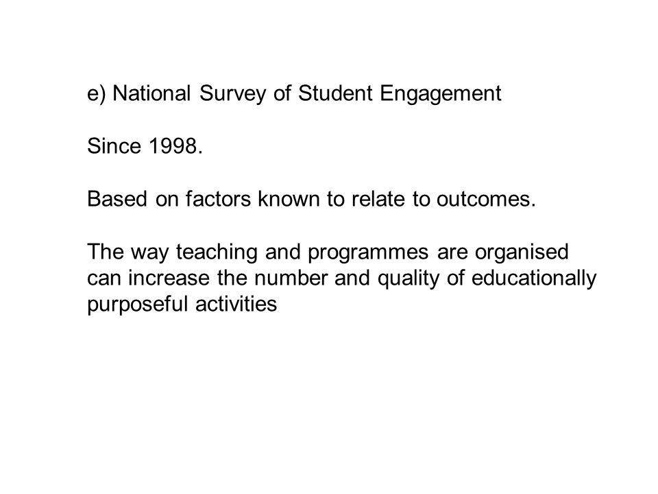 e) National Survey of Student Engagement