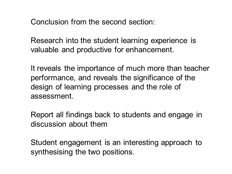 Conclusion from the second section: