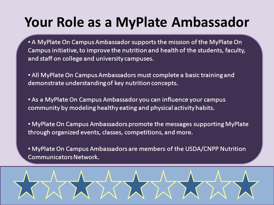 Your Role as a MyPlate Ambassador
