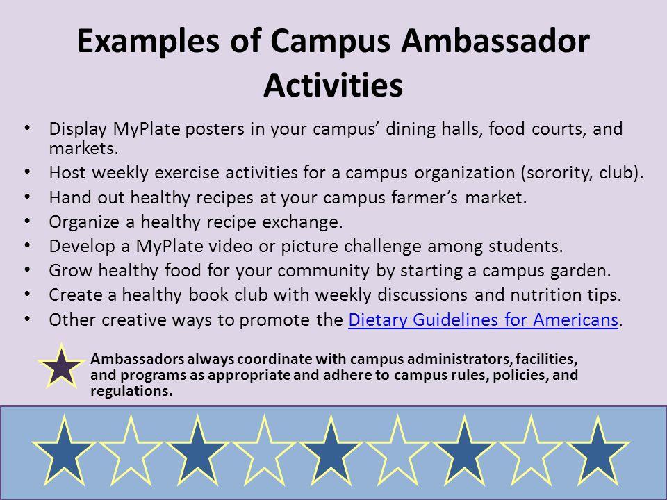 Examples of Campus Ambassador Activities