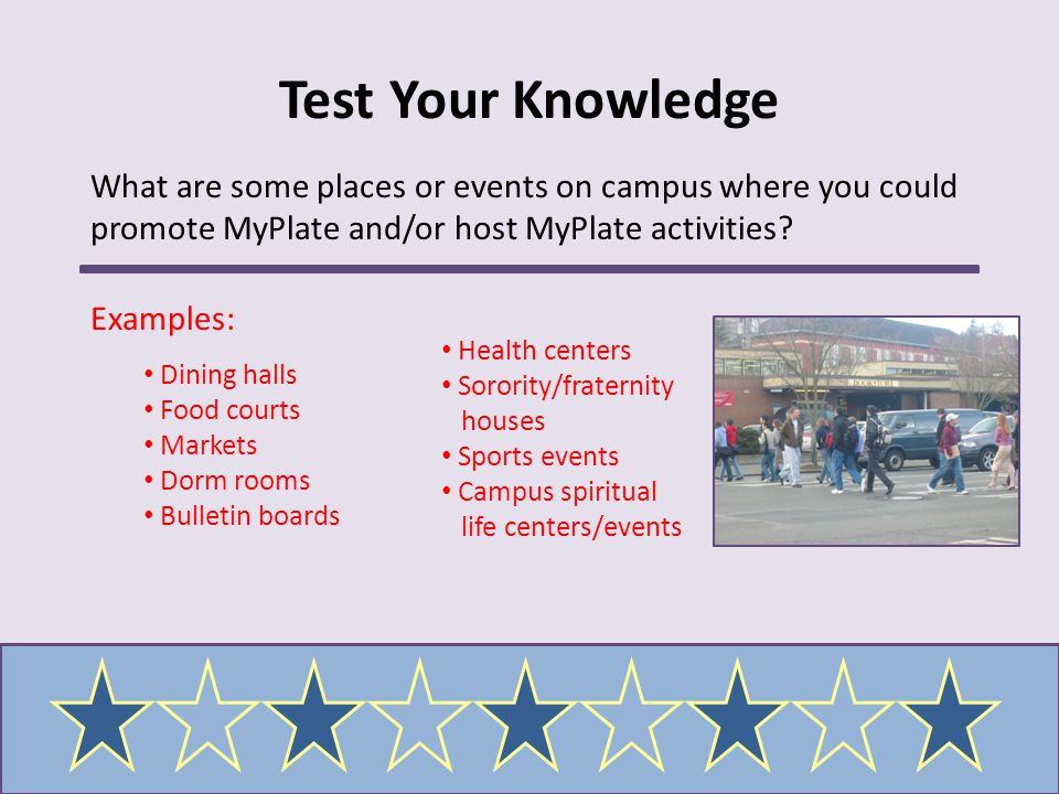 Test Your Knowledge What are some places or events on campus where you could promote MyPlate and/or host MyPlate activities