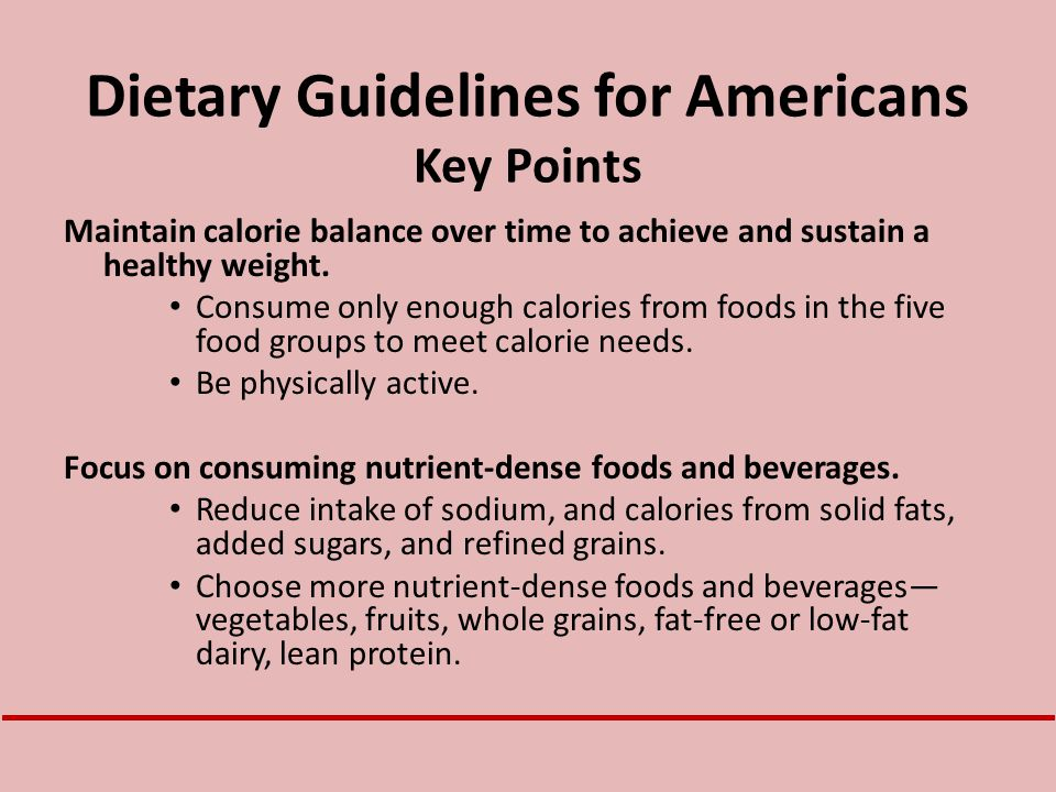Dietary Guidelines for Americans Key Points