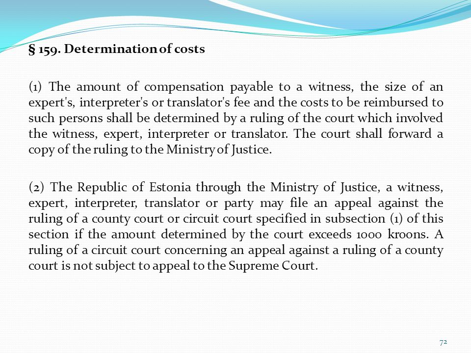 § 159. Determination of costs