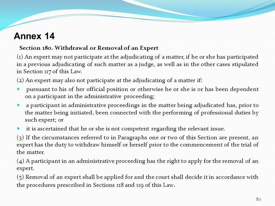 Annex 14 Section 180. Withdrawal or Removal of an Expert