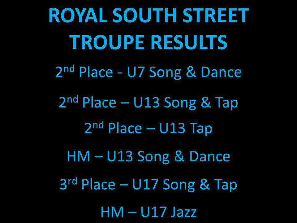 ROYAL SOUTH STREET TROUPE RESULTS