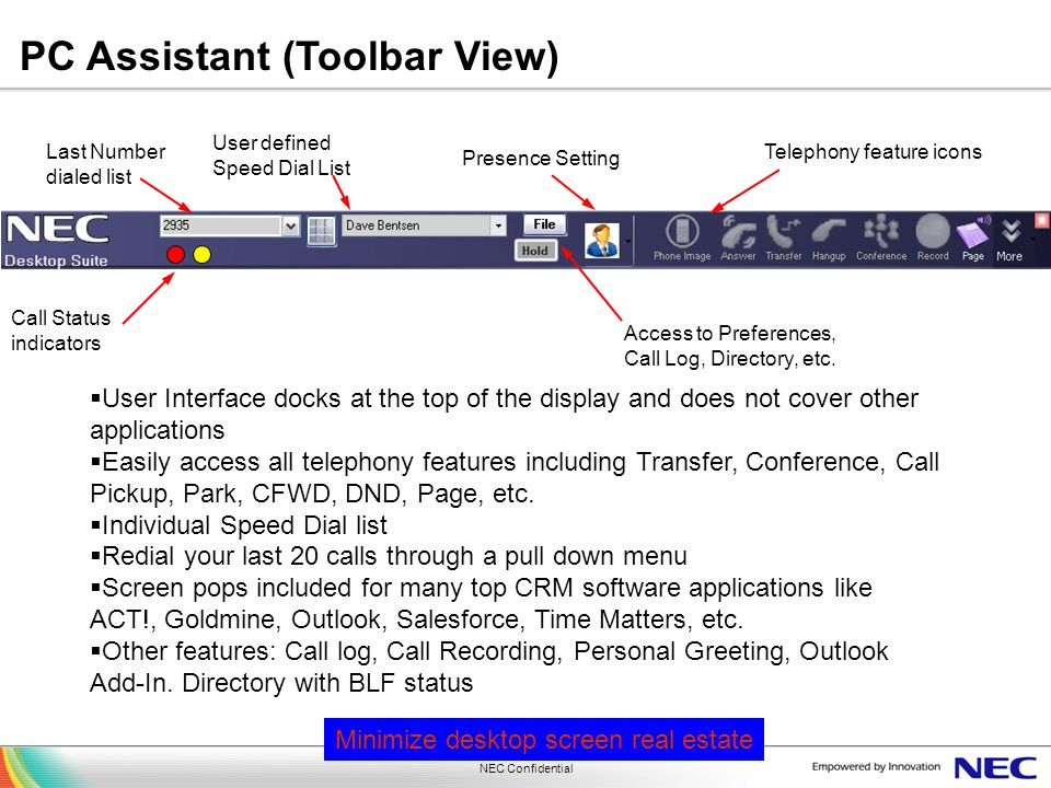 PC Assistant (Toolbar View)