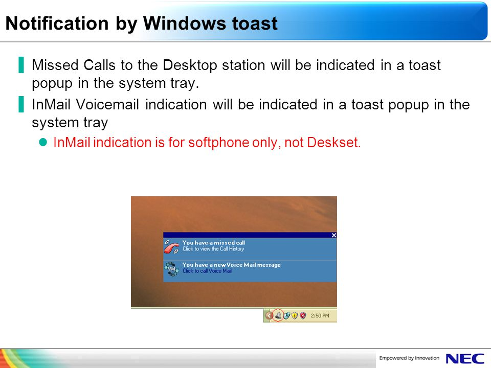Notification by Windows toast