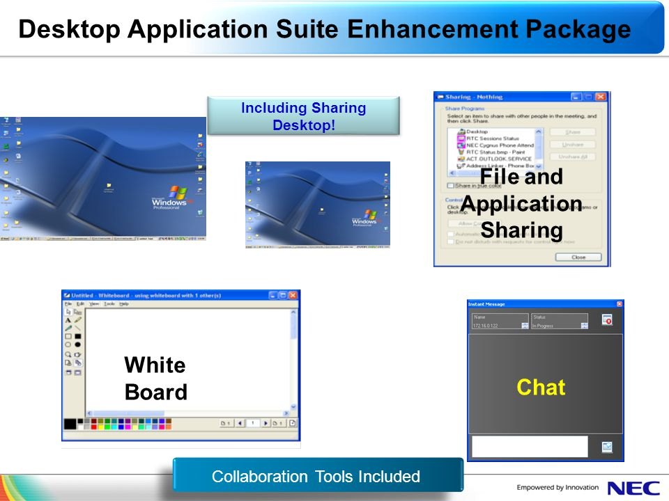 Including Sharing Desktop! File and Application Sharing