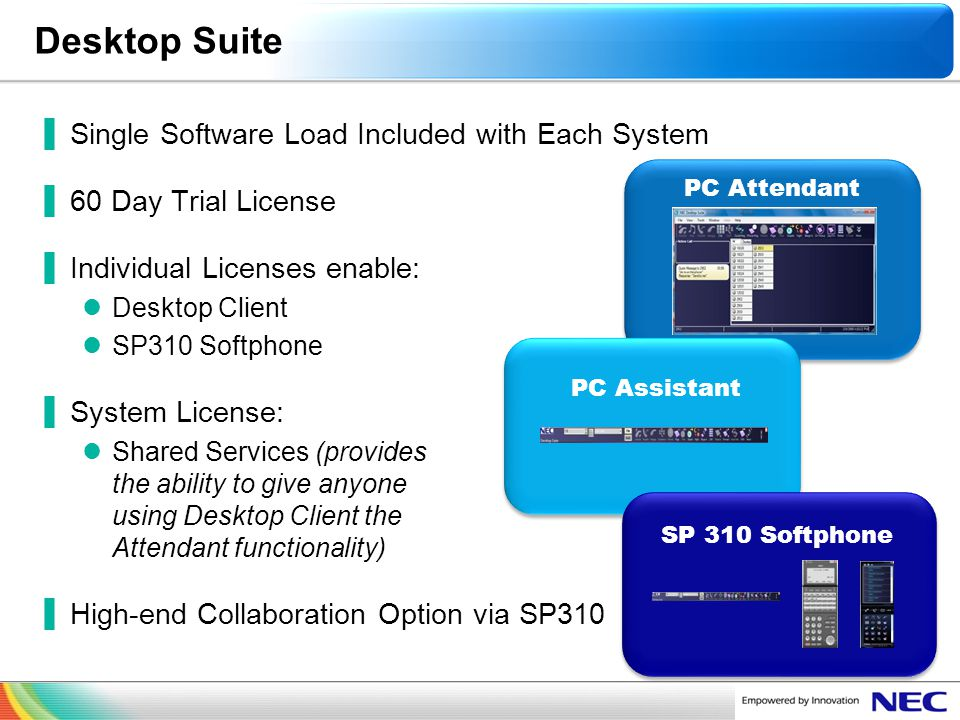 Desktop Suite Single Software Load Included with Each System
