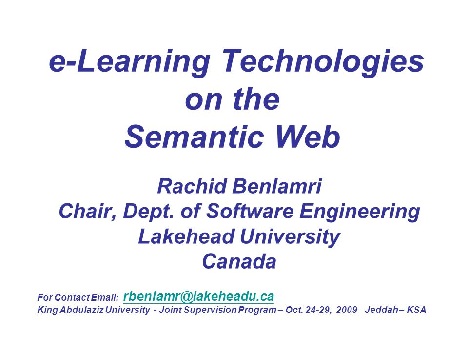 e-Learning Technologies on the Semantic Web
