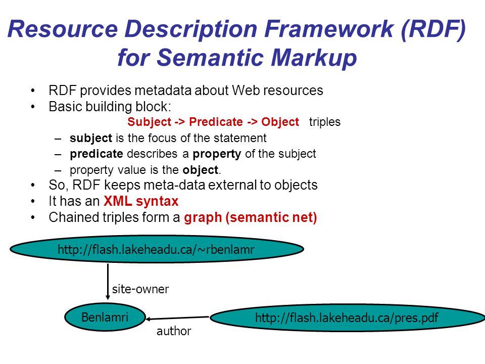 Resource Description Framework (RDF) for Semantic Markup