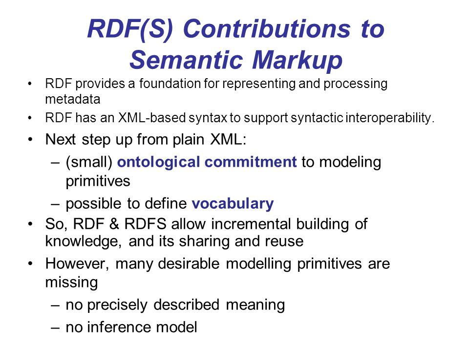 RDF(S) Contributions to Semantic Markup